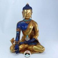 仏陀 (ラピスラズリ天然石彫刻・銅に金を塗った状態の仏像様)