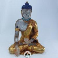 仏陀 (ヒマラヤ水晶天然石彫刻と銅金プレート仏像)