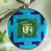 チベット民族伝統天然石トップマンダラペンダント