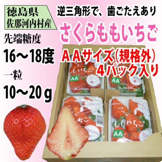 徳島県 佐那河内村産 「さくらももいちご」AAサイズ 4パック入り 送料無料