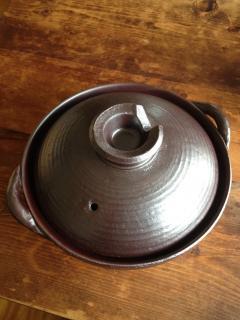 萬古焼の土鍋 8号 黒釉