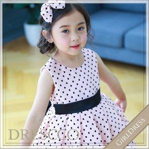 ハートモチーフドッドピンクドレス