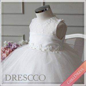 (一時販売中止) シースルーフラワー刺繍ホワイトドレス