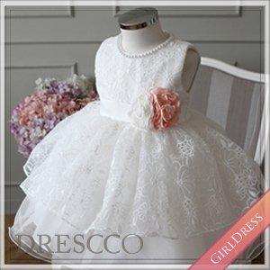 (一時販売中止) オーガンジーフラワー刺繍オフホワイトドレス
