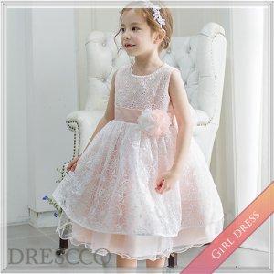 オーガンジーフラワー刺繍ピンクドレス