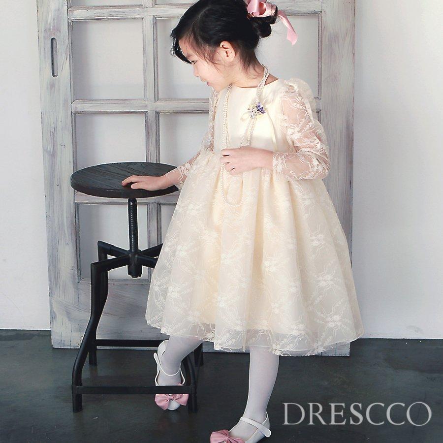 フェイトシースルースリーブ刺繍アイボリードレス