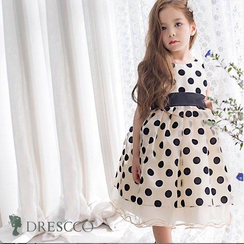 ブラックポルカドットゴールドドレス