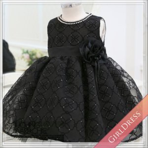 ツーパールラインフラワーモチーフブラックドレス