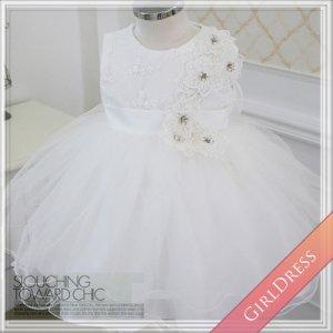 フラワー刺繍レース付きチュールスカートドレス
