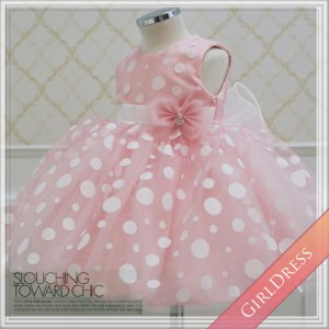 ホワイトドットピンクドレス