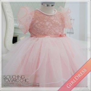 フリルスリーブピンクレースドレス