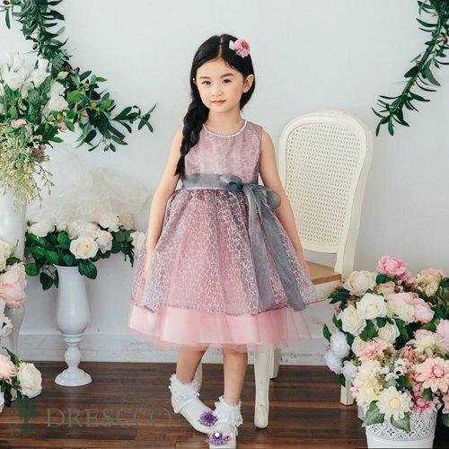 グレイXピンク刺繍ドレス