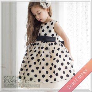 【在庫あり】ブラックポルカドットゴールドドレス<1~7号><身長75~125cm前後>