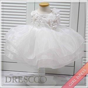 フラワーモチーフオフホワイトドレス