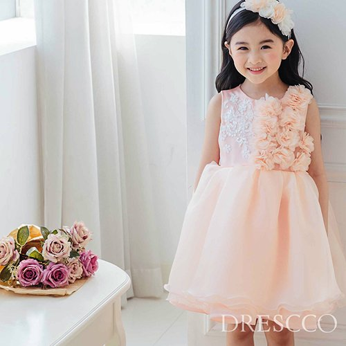 フラワーモチーフピーチピンクドレス