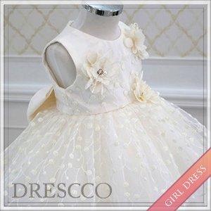 リーフ刺繍アイボリードレス