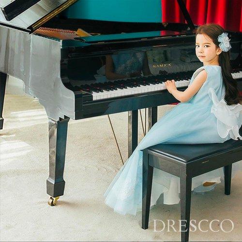 ライトブルー刺繍ロングドレス