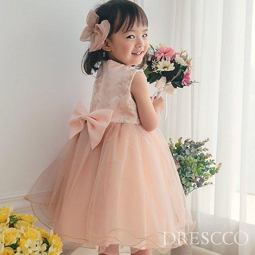 (一時販売中止) ツーラインパールピンクベージュドレス