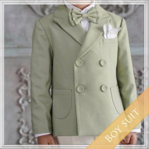 パステルグリーンスーツ5点セット  (ジャケット+長ズボン+タイ+ベスト+ハンカチーフ)