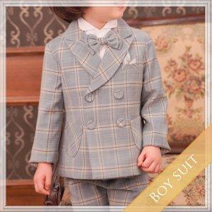 チェックボンボンスーツ5点セット (ジャケット+ベスト+長ズボン+タイ+ハンカチーフ)