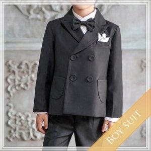 ブラックスーツ5点セット  (ジャケット+長ズボン+ベスト+タイ+ハンカチーフ)