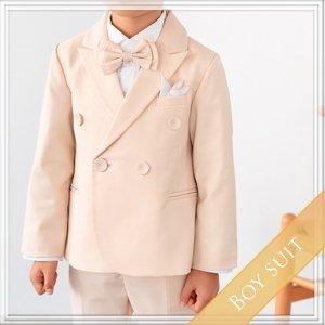 シンプルダブルスーツ5点セット (ジャケット+長ズボン+ベスト+タイ+ハンカチーフ)