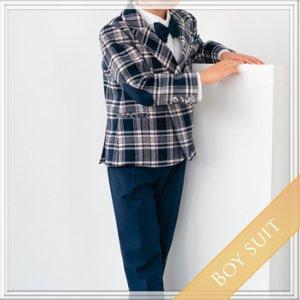 ブルーパッチスーツ5点セット  (ジャケット+長ズボン+ベスト+タイ+ハンカチーフ)