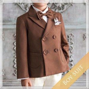 ブラウンスーツ5点セット  (ジャケット+長ズボン+タイ+ハンカチーフ)