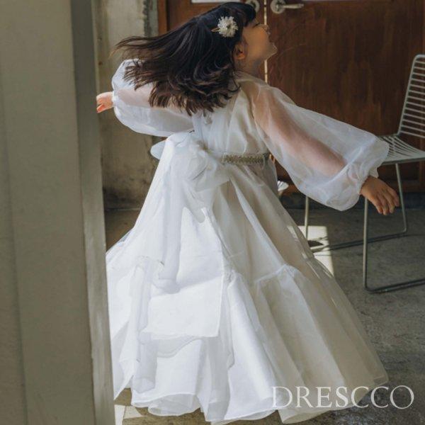 ミューズフルフレアロングドレス(ホワイト)