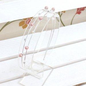 メリッサスノーフラワーパールカチューシャ(アイボリー/ピンク)(2色カラー)