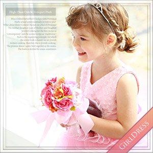 ホイットニーバイオレットコサージュピンクボリュームドレス