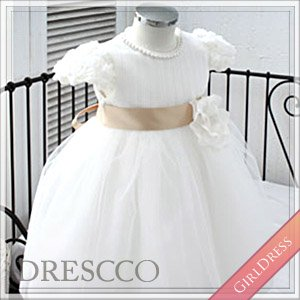 (一時販売中止)ホワイトシフォンローズコサージュドレス