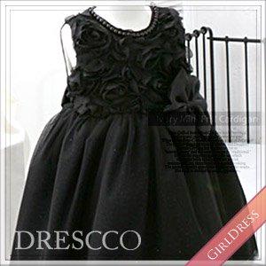 ブラックシフォンローズドレス