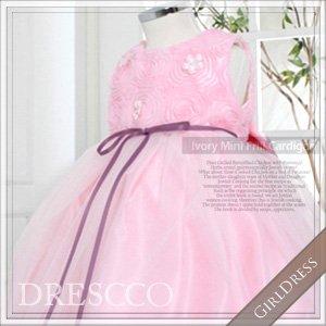 ピンクフラワーホワイトレースドレス