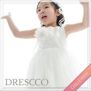 フォイベパールフラワーコサージュホワイトドレス