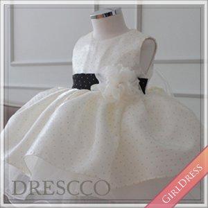 ホワイトアンドブラックドットドレス