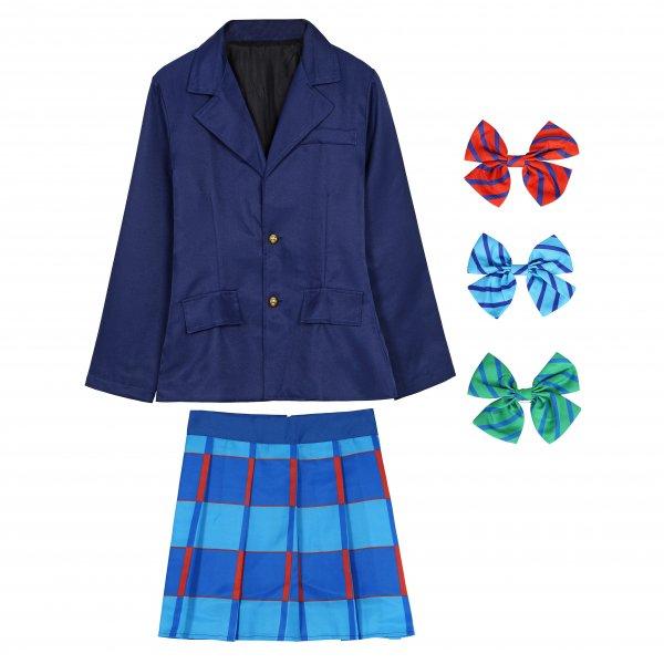ラブライブ風 制服 リボン3点セット(赤、青、緑)【白シャツ付き】 コスプレ 衣装