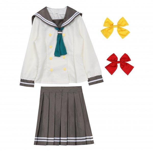 ラブライブ風 長袖セーラー服 リボン3点セット(赤、黄色、緑) コスプレ衣装
