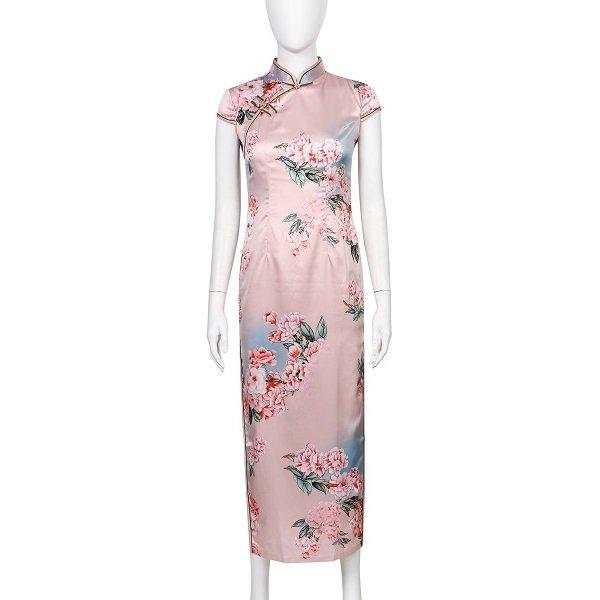 チャイナドレス 花 ピンク
