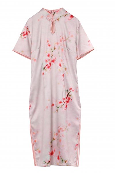 チャイナドレス 花柄 ピンク