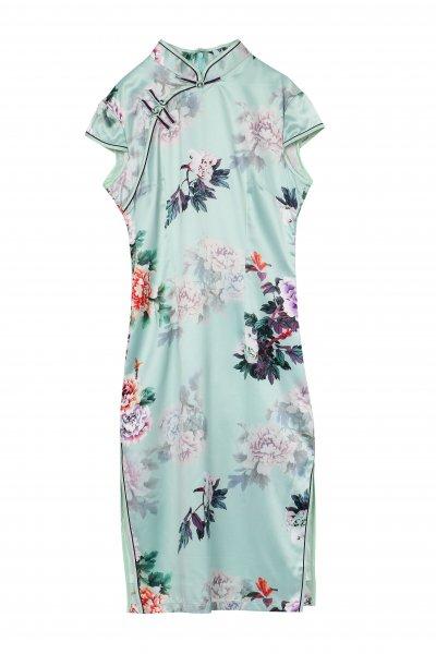 チャイナドレス 花柄 青