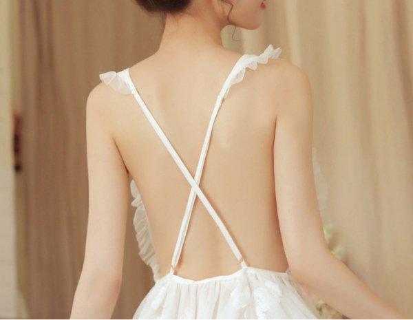 刺繍入り白い×ベビードール