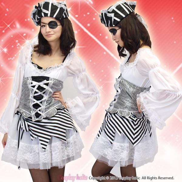 ハロウィンコスプレ 仮装 シルバー×ブラック海賊衣装