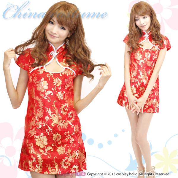 チャイナドレス コスプレ  赤×金糸ミニワンピース
