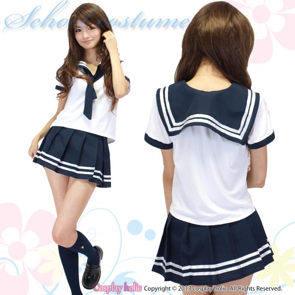 セーラー服 コスプレ !白半袖・青スカート・ネクタイのコスプレ衣装