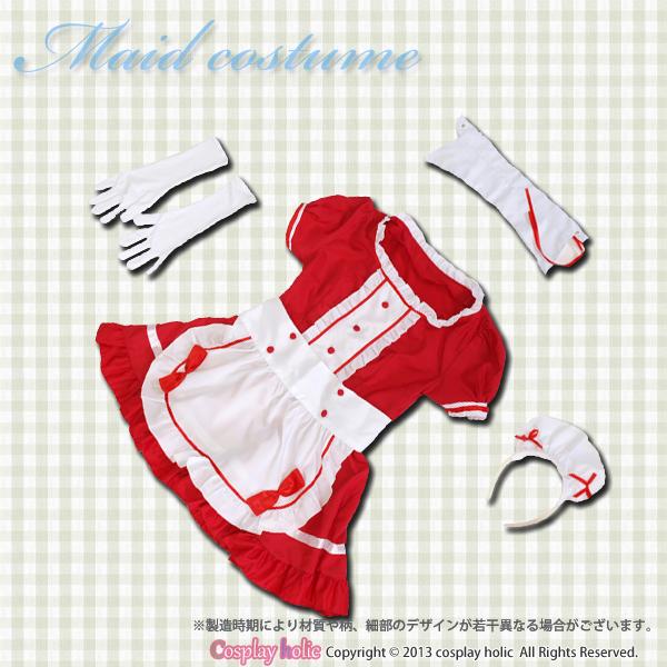 メイド服 赤 半袖 5点セット チョーカーと手袋付き