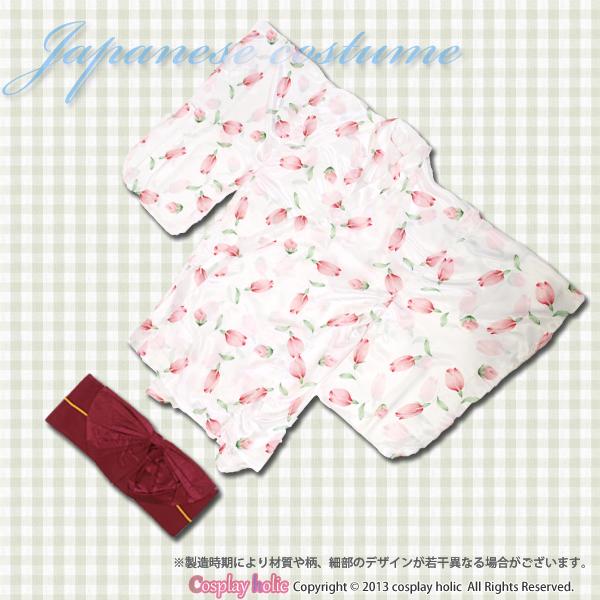 和服 コスプレ 衣装 激安 ピンクのチューリップ柄