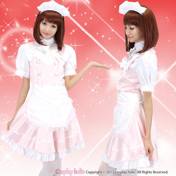 ピンク×ホワイトの可愛いメイド服