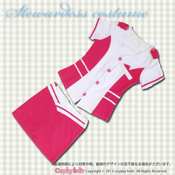 【スチュワーデスコスプレ】ピンク×白のスッキリフォルムデザイン コスチューム