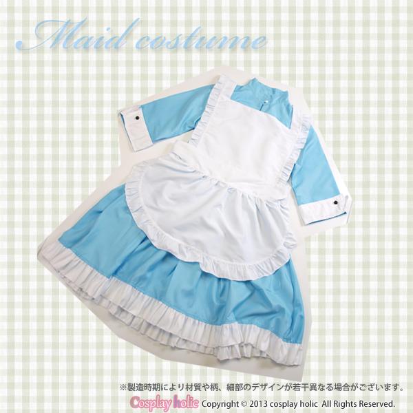 メイド服  水色 セクシー ミニスカート 七分袖コスプレ